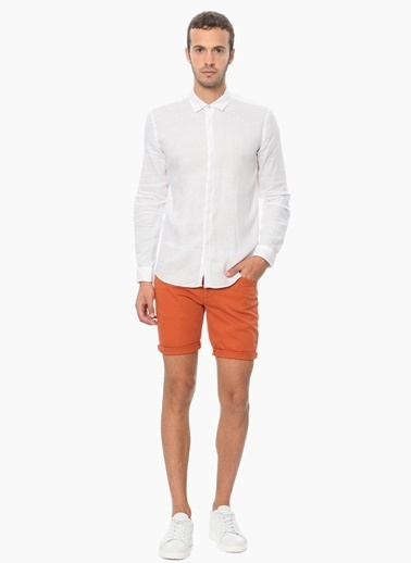 Que Slim Fit Uzun Kollu Keten Gömlek Beyaz